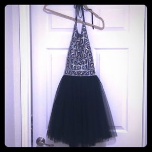 Sequins halter dress with tule skirt